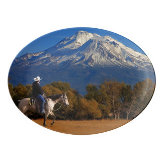 MT SHASTA WITH HORSE AND RIDER PORCELAIN SERVING PLATTER