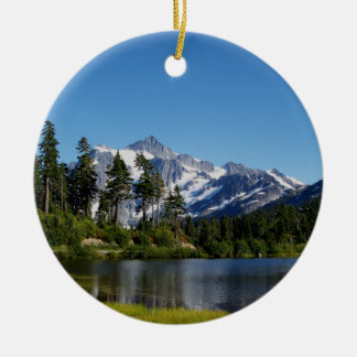 Mt Shuksan From Picture Lake Round Ceramic Decoration