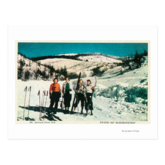 Mt. Spokane State Park Ladies SkiingWashington Postcard