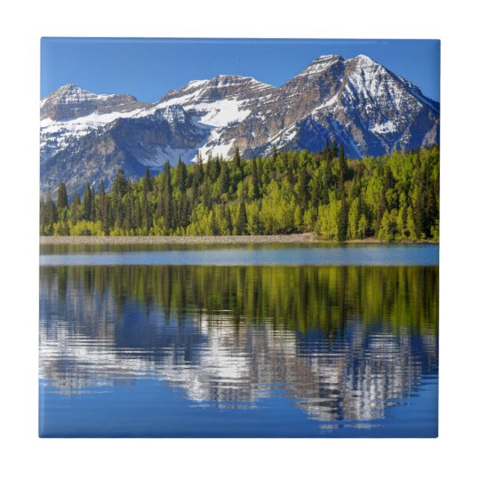Mt. Timpanogos Reflected In Silver Lake Flat Small Square Tile