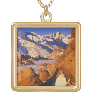 Mt. Whitney and Lone Pine peak Gold Plated Necklace
