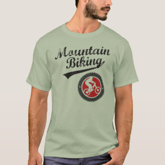 MTB Mountain Biking Retro Graphic, Black & Red T-Shirt