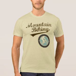 MTB Mountain Biking Retro Graphic, Brown & Blue T-Shirt