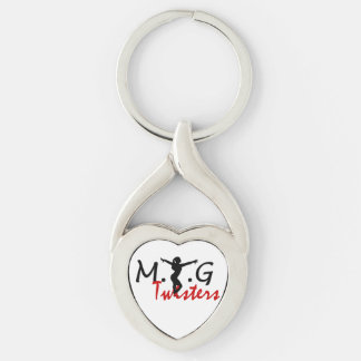 MTG Twisters Key Chain Silver-Colored Twisted Heart Key Ring