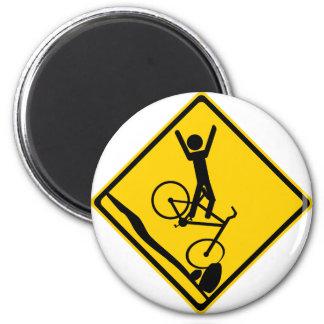 Mtn Biker Crash Road Sign Refrigerator Magnet