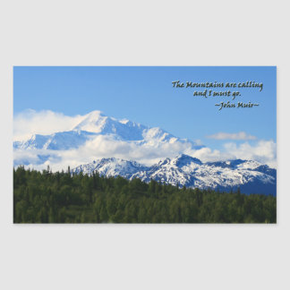 Mtns are calling/Denali-J Muir Rectangular Sticker
