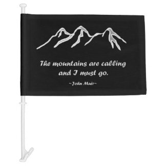 Mtns are calling/Snowy blizzard on Black Design Car Flag