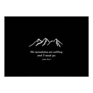 Mtns are calling/Snowy blizzard on Black Design Print