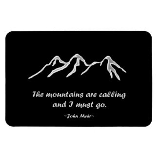 Mtns are calling/Snowy blizzard on Black Design Rectangular Photo Magnet