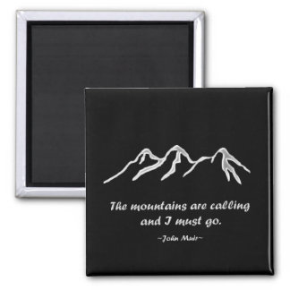 Mtns are calling/Snowy blizzard on black Square Magnet
