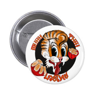 Muay Thai Cat Button Badge