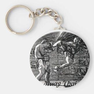 Muay Thai, Fight, Thai Boxing Basic Round Button Key Ring