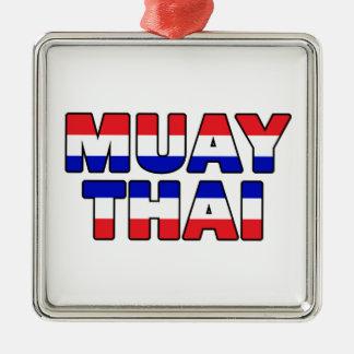 Muay Thai Silver-Colored Square Decoration