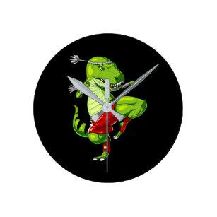 Muay Thai T-Rex Dinosaur Round Clock