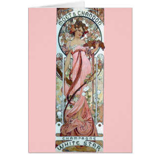 mucha art deco white star champagne woman greeting card