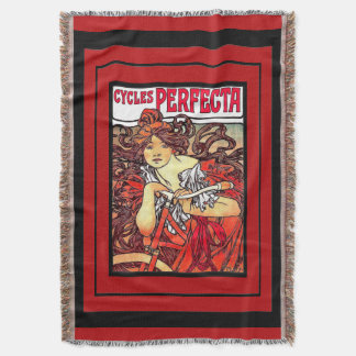 Mucha Art Nouveau Lady Bicycle Sport Throw Blanket