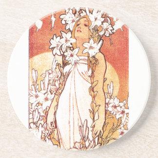 Mucha Art Nouveau Lady Coaster