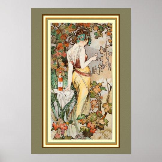 Mucha Art Nouveau Liqueur Ad Poster 13 x