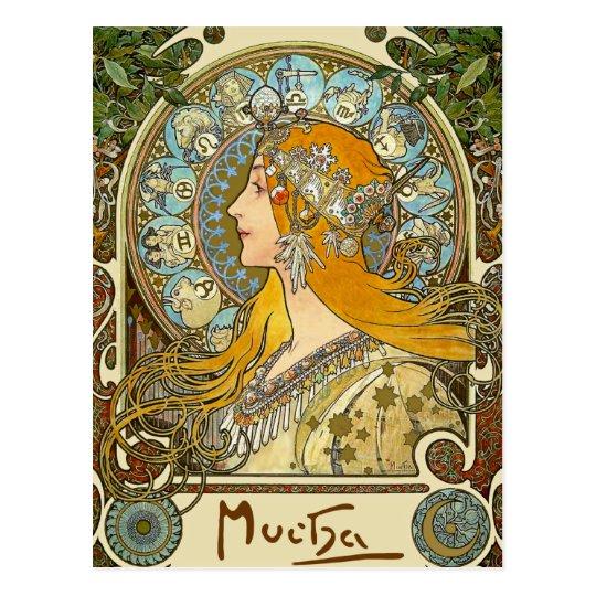 Mucha Art Nouveau Postcard - Zodiac - La