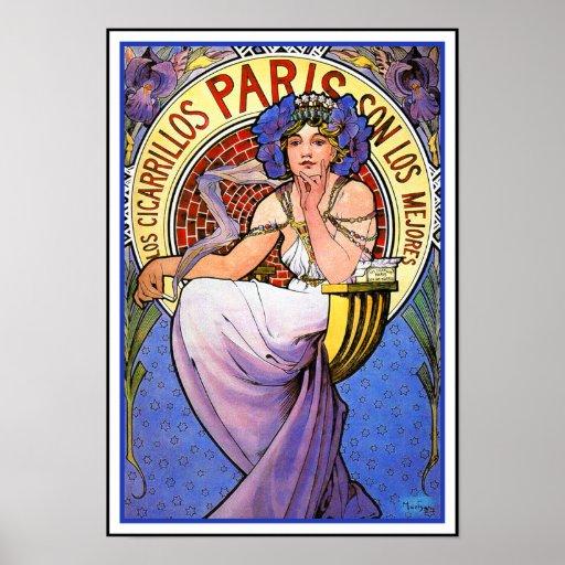 Mucha Art Nouveau Poster: Los Cigarrillos Paris Poster