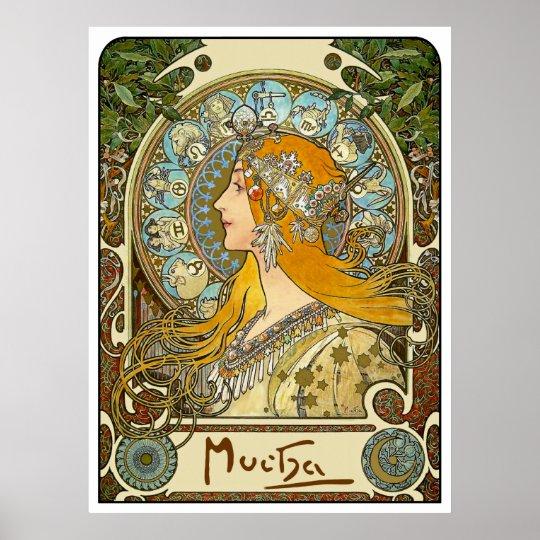 Mucha Art Nouveau Poster - Zodiac - La
