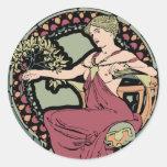 Mucha art nouveau round sticker