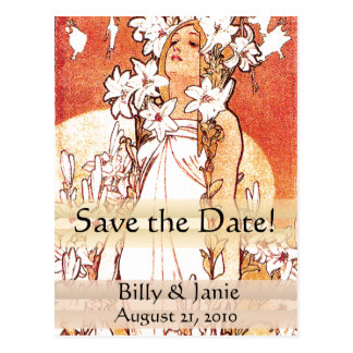 Mucha Art Nouveau Save the Date Postcard