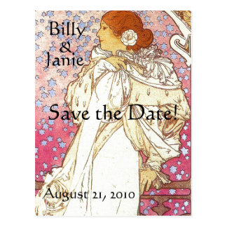 Mucha Art Nouveau Save the Date Postcard