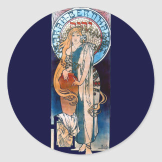 mucha art nouveau thatre woman long hair classic round sticker