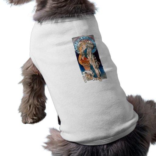 mucha art nouveau thatre woman long hair dog t-shirt