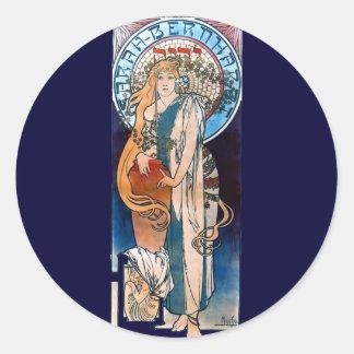 mucha art nouveau thatre woman long hair round sticker