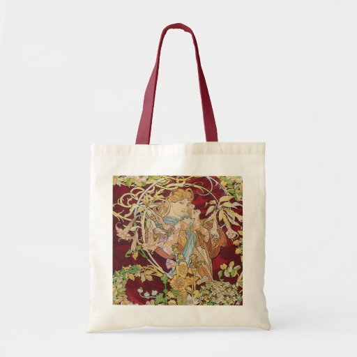 Mucha Art Nouveau: Woman With Daisy Tote Bag