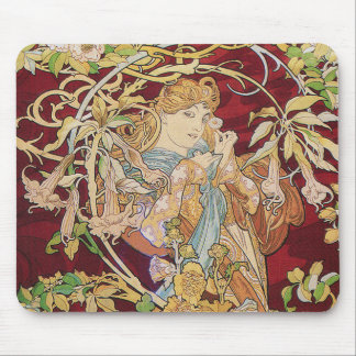 Mucha Art Nouveau: Woman With Daisy Mouse Mat