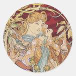 Mucha Art Nouveau: Woman With Daisy Round Sticker