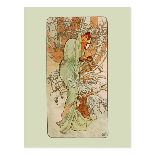 Mucha Art NouveauWinter Girl Postcard