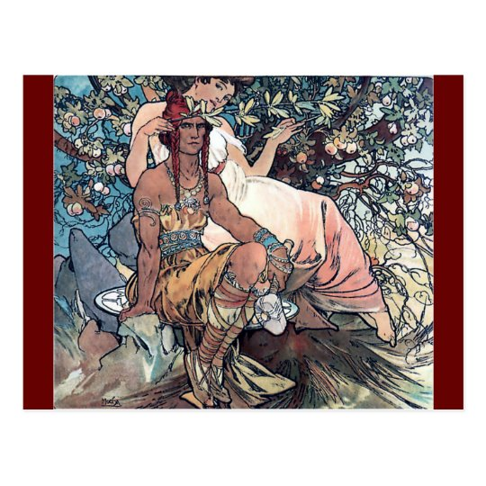 Mucha art woman man native american postcard