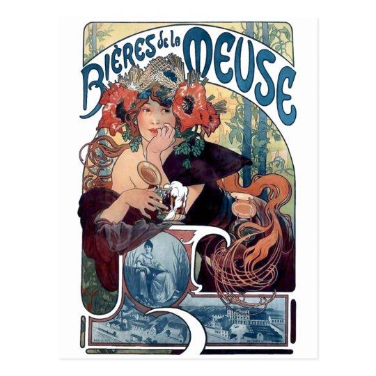 Mucha beer Bieres de la Meuse vintage ad