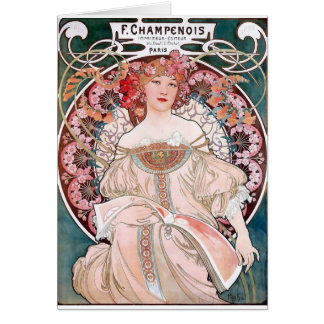 Mucha Champenois paris pink dress lady art deco Card