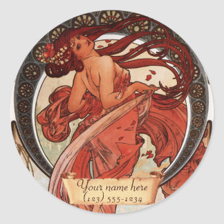 Mucha Dance Art Nouveau Bookplate Stickers