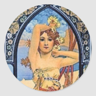 mucha day woman art deco flowers female classic round sticker