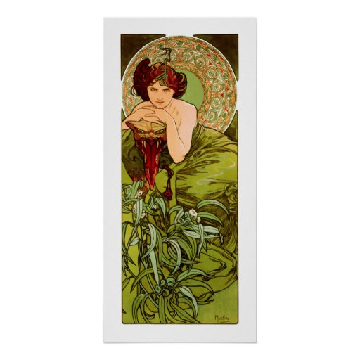 "Mucha - Emerald - from the series ""Precious Stones Poster"