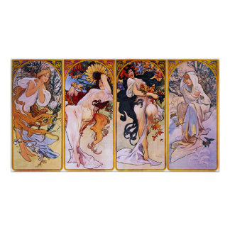 Mucha - Four Seasons Poster
