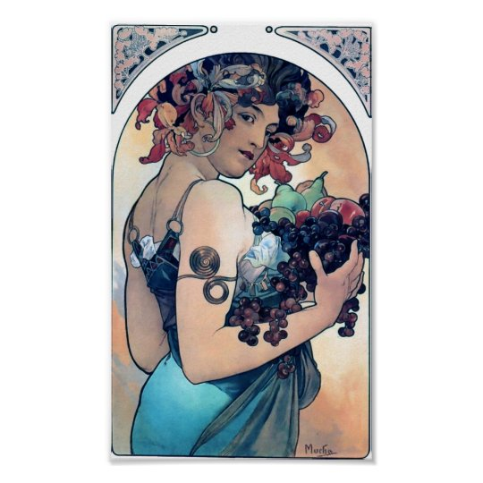 Mucha Grapes Art Deco Vintage Woman Poster
