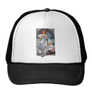 Mucha Hot chocolate mother baby vintage gift Trucker Hats