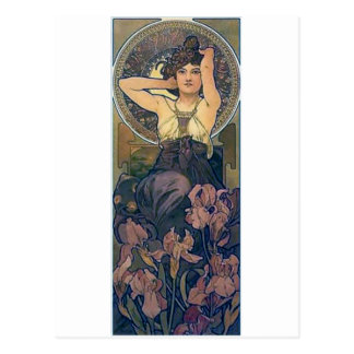 Mucha iris flowers woman art deco postcard