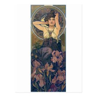 Mucha iris flowers woman art deco postcard
