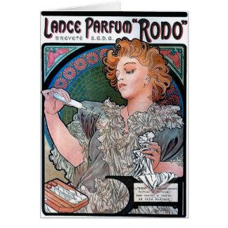 Mucha Lance Parfum Rodo perfume advertisement Greeting Card