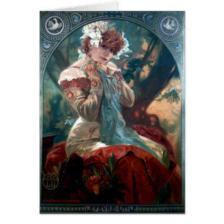 Mucha Lefevre-Utile art deco woman red dress Greeting Card