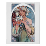Mucha lilies art deco poster