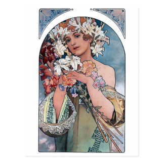 mucha lillies art deco gift postcard